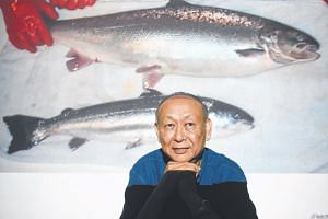 The genetically modified salmon (top) was created in 1992 by Emeritus Professor Hew Choy Leong.