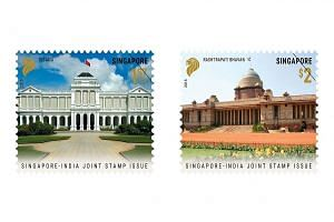 The two stamps in the set depict the two countries' presidential residences - the Istana (left) in Singapore and Rashtrapati Bhavan in New Delhi.