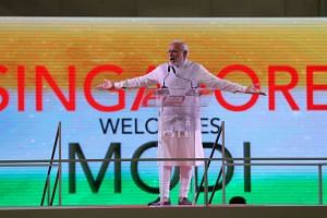 Prime Minister Narendra Modi attends a private Indian diaspora event at Singapore Expo.