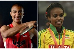 American decathlete Ashton Eaton (left) and Ethiopian middle-distance runner Genzebe Dibaba.