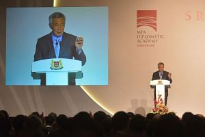 Prime Minister Lee Hsien Loong speaking at the 2015 S Rajaratnam Lecture at the Raffles City Convention Centre on Nov 27.