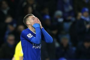 Leicester City's Jamie Vardy reacts during the Barclays Premier League match against Manchester United.