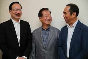 From left: Sing Lun Holdings chairman Patrick Lee, Hi-P International executive chairman Yao Hsiao Tung and Tee Yih Jia Food Manufacturing executive chairman Sam Goi urge local entrepreneurs to look beyond Singapore to expand their businesses as the