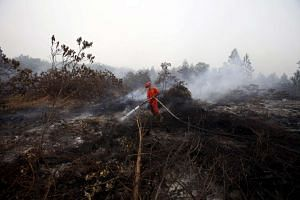 Indonesian security forces help a firefighter (R) spray water on a peatland fire in Kampar, Riau province, on the Indonesian island of Sumatra, on Sept 15, 2015.