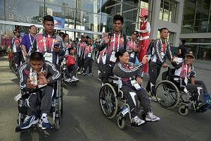 Athletes and officials from Myanmar attending a team welcome ceremony yesterday, at which the Asean Para Games was hailed as an important platform to help forge a stronger regional identity.