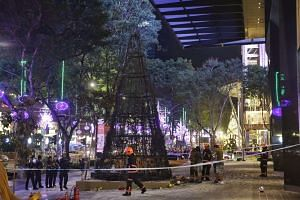 A gutted Christmas tree outside Topshop along Orchard Road on Dec 2, 2015.
