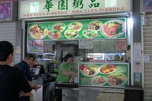 Mr Clement Yip, owner of Hwa Yuen Porridge (above) at Tiong Bahru Market and Food Centre, said his takings have already halved due to earlier curbs on raw fish dishes.