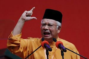 Malaysia's Prime Minister Najib Razak giving the keynote address at the Umno annual assembly.