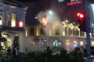 The Christmas decoration along Orchard Road that caught fire.