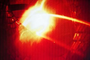 A colourised computer image shows the first plasma from the Wendelstein 7-X nuclear fusion research centre.