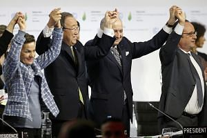 (From left) Ms Christiana Figueres, executive secretary of the UN Framework Convention on Climate Change, United Nations Secretary- General Ban Ki Moon, French Foreign Affairs Minister Laurent Fabius and French President Francois Hollande at the Worl