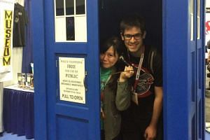 Adan Jimenez and Felicia Low-Jimenez in the Tardis, the time machine featured in TV show Doctor Who.