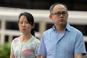 (From left) Chong Sui Foon and her husband Lim Choon Hong claimed trial to charges of failing to provide Ms Thelma Oyasan Gawidan with adequate food. Ms Thelma said she was not allowed to brush her teeth, and could take a cold shower only once or twi