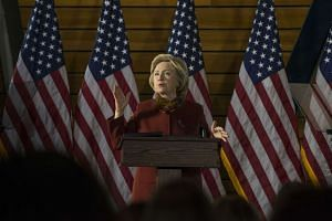 Democratic presidential candidate Hillary Clinton speaking at the University of Minnesota on Dec 15.