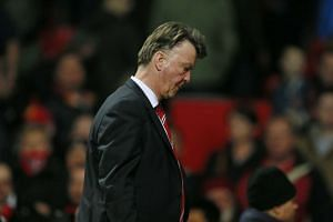 Louis van Gaal looks dejected after the game between Manchester United and Norwich City.