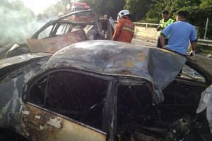 A Singapore-registered car burst into flames after colliding into another vehicle near Kota Tinggi in Johor on Friday (Dec 25) killing three of its four passengers, Malaysian media reports said.