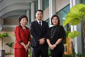 (From far left) Madam Teo Chwee Kee, who is retiring as principal of Woodlands Ring Secondary School; Mr Shane Kwok, Tampines Secondary School's new principal; and Mrs Celine Ng, who will be principal of Bedok Green Primary School.