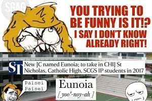 Local humour site SGAG's comic strip spoof of Eunoia JC's name.