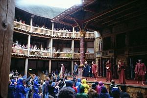 The Globe Theatre, a replica of Shakespeare's original Globe Theatre of 1599, was built using traditional construction methods and has an open yard - just like the old theatre-  for people who want to see the performances cheaply.