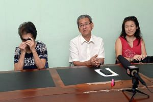 (Left) At the press conference in JB yesterday were Mrs Cannie Wong (right), businessman Yap Yeen Min (centre) and Mrs Wong's mother-in-law. Mr Yap helped hand toddler Angie Tiong (above) to Johor police on Sunday.