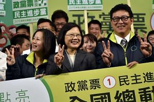 Democratic Progressive Party (DPP) chairman Tsai Ing-wen currently leads in opinion polls, thanks to the deep unpopularity of President Ma Ying-jeou and his policies gestures during an election campaign in Taipei on Jan 8, 2016.