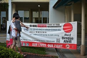A banner showing the number of dengue cases at hot spots in Tampines Avenue 4. Tampines is Singapore's biggest dengue cluster. The NEA advised people living in active dengue clusters - there are 115 now - to use repellents to reduce their risk of get