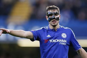 Chelsea's Cesar Azpilicueta wears a protective mask in the team's victory over Scunthorpe United on Sunday.