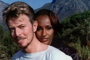 Pop star David Bowie and his supermodel wife Iman on a visit to South Africa in 1995.