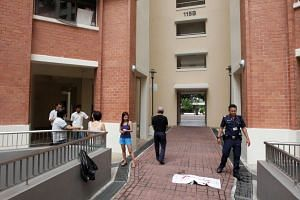 Block 115B in Yishun Ring Road, where Lee Wai Leong allegedly threw a cat to its death on Oct 30, 2015.