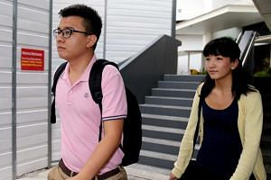 Ai Takagi (right) and Yang Kaiheng leaving the State Courts.