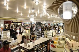 Shoppers at the Shilla Duty Free shop at Changi Airport Terminal 1.