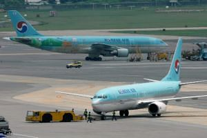South Korea's Korean Air planes at Gimpo International Airport in Seoul, South Korea.