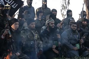 A screenshot of ISIS militants from an online report.