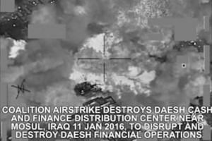 A video screengrab shows an airstrike on an ISIS cash and finance distribution centre near Mosul.