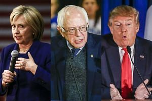 (From left) US presidential hopefuls Hillary Clinton, Bernie Sanders and Donald Trump.