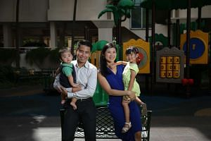 Mr Getty Goh with his wife Eleanor Chia, 36, and their two children – Zachary, eight months, and Natasha, three. Mr Goh spends most of his time running his real estate crowdfunding site, CoAssets.