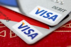 Visa credit cards are displayed in Washington.