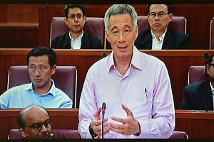 Prime Minister Lee Hsien Loong speaking in Parliament on Wednesday, Jan 27, 2015.