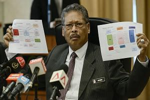 """Mr Apandi Ali showing money flow charts during a press conference in Putrajaya, Malaysia, yesterday.He said the money was not """"given corruptly"""" and was not used as """"inducement or reward"""" for Mr Najib Razak to do anything in his capacity as Prime Mini"""