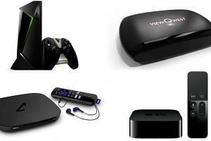 (Clockwise from top left) Nvidia Shield Android TV, ViewQwest TV 4K, Apple TV (4th Generation), and Roku 4.