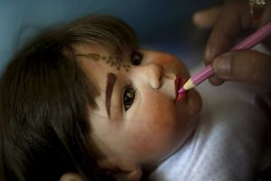 A Child Angel doll being groomed in Nonthaburi, Thailand, on Jan 26, 2016.