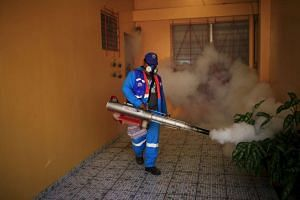 A city worker fumigating a neighbourhood as part of preventive measures against the Zika virus, in San Salvador, El Salvador, on Jan 27, 2016.