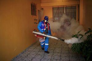 A city worker fumigating a neighbourhood as part of preventive measures against the Zika virus, in San Salvador, El Salvador, on Jan 27, 2016.