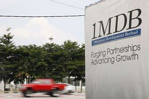 A 1MDB billboard at the Tun Razak Exchange development in Kuala Lumpur, Malaysia.