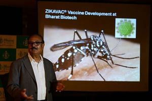 Bharat Biotech chairman Krishna Ella announces his company is developing  Zika virus vaccine at a press conference in Hyderabad on Wednesday.