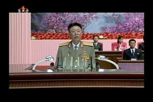 An image taken from a video of North Korean army chief of staff Ri Yong Gil making a speech in Pyongyang on Aug 24, 2014.
