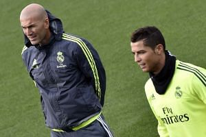 Zidane (left) and Portuguese forward Ronaldo take part in a training session in January 2016.