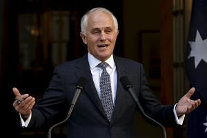 Australian PM Malcolm Turnbull at a media conference at Parliament House in Canberra, Australia, on Sept 20, 2015.