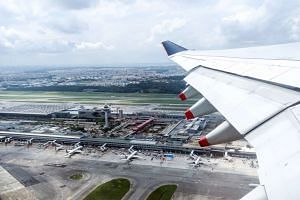 A bird's eye view of Singapore Changi Airport upon take off.
