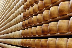 A storage area for Parmesan cheese wheels at a warehouse owned by Credito Emiliano bank.